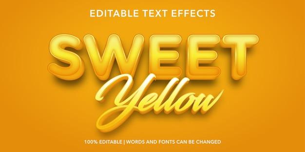 甘い黄色の編集可能なテキスト効果