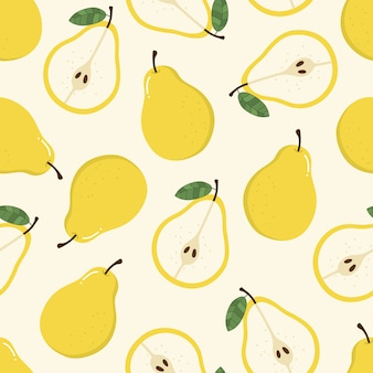 Sweet yellow pear seamless pattern.
