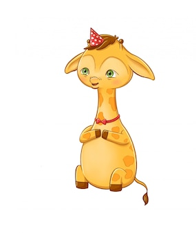 Sweet young giraffe character on a party. cartoony character illustration of a safari animal isolated on white background