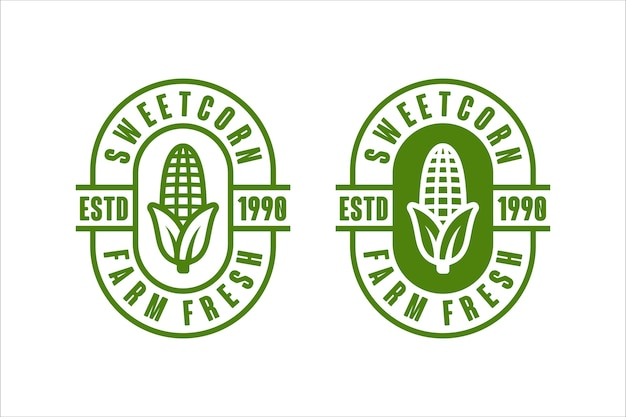 Sweetcorn farm fresh vector design logo