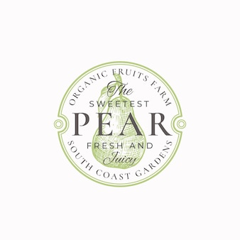 The sweetest pear farm badge or logo template.