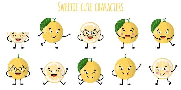 Конфеты цитрусовые милые веселые веселые персонажи с разными позами и эмоциями. натуральный витаминный антиоксидант для детоксикации пищевых продуктов. изолированные иллюстрации шаржа.