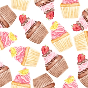 Sweetiest cupcakes watercolor seamless pattern