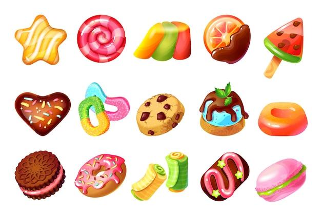 お菓子やお菓子。漫画のカラフルなキャラメルロリポップとボール、チョコレートケーキのクッキーとドーナツ。ベクトルカラーイラストマカロンとゼリーデザートセット