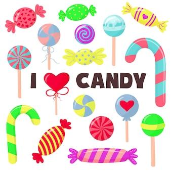 Конфеты и конфеты в мультяшном стиле. леденцы, тростник, сладости и чупа-чупс. симпатичные глянцевые сладости. я люблю надписи на конфетах.