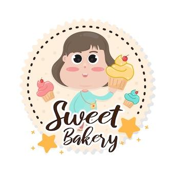 お菓子パン屋さんのロゴバッジテンプレート。カフェやレストランのエンブレム、パン屋さんのシンボル。