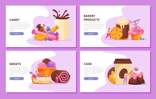 Sweets, bakery and people banner set