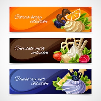 Sweets banners horizontal set