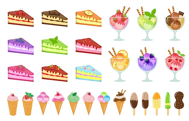 Sweets big set icons, cake and ice cream, cheesecake, dessert in a glass cup, cartoon style. cakes of different tastes collection design element. isolated on white background. illustration.