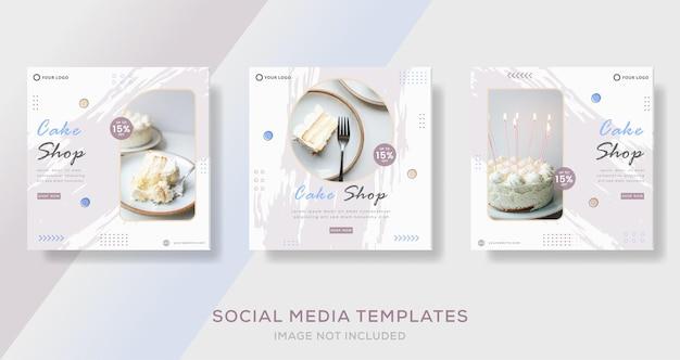Sweets cake banner template post premium vector