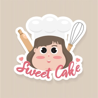 Sweets cake logo badge template