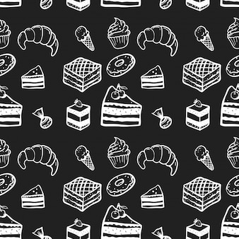 Sweets, cake, seamless pattern