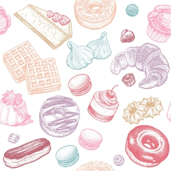 과자 케이크와 빵 원활한 패턴
