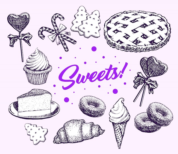 Sweets cakes collection hand drawn elements retro