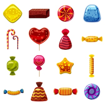 Sweets cakes icons set, cartoon style