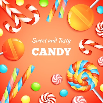 Sweets and candies background