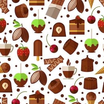 Modello senza cuciture di dolci e caramelle, cioccolato e gelato