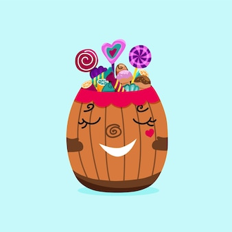 Sweets and candies in cute wood barrel. cartoon vector illustration