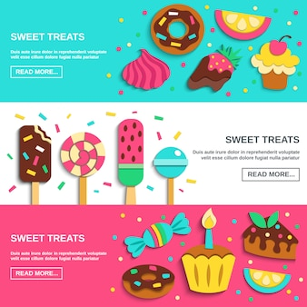 Sweets candies flat horizontal banners