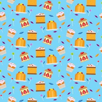 Sweets and candies seamless pattern