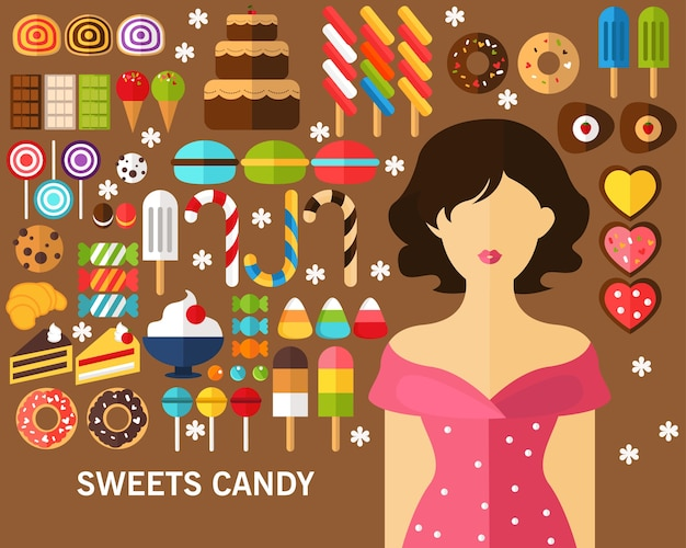 Sweets candy concept background