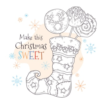 Sweets in a christmas stocking vector.