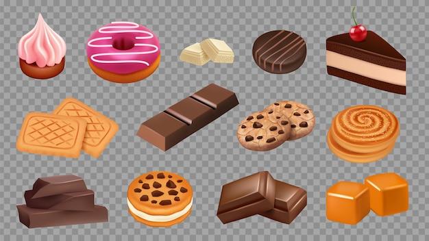 お菓子コレクション。リアルなクッキー、チョコレート、ケーキ、ソフトキャラメルセット。イラストケーキ食品、デザートペストリーベーカリー、クッキー、キャンディー