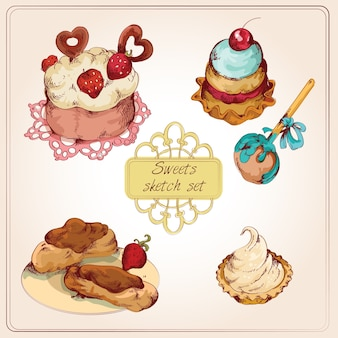 Sweets colored set