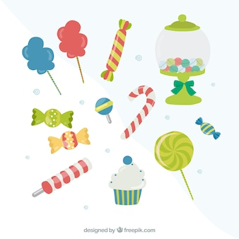 Sweets, cotton candy and lollipops