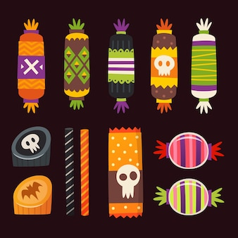 Sweets decorated with halloween elements. vector candies icons