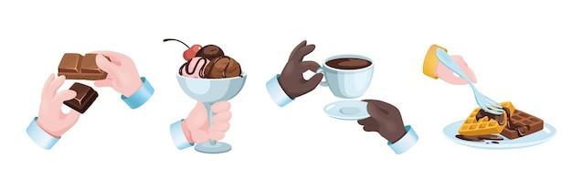 Набор конфет десерт графическая концепция руки. человеческие руки, держа шоколад, мороженое с начинкой в миске, вафлях и чашке кофе. кондитерское меню. векторная иллюстрация с 3d реалистичными объектами