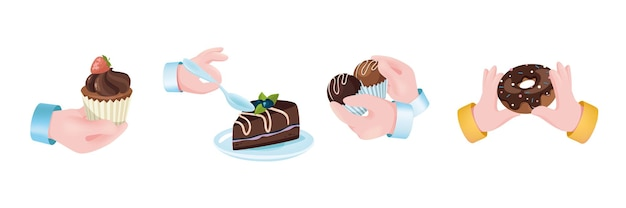 Sweets dessert graphic concept hands set. human hands holding strawberry muffin, chocolate cake with berry, candy, donut. confectionery, pastry menu. vector illustration with 3d realistic objects
