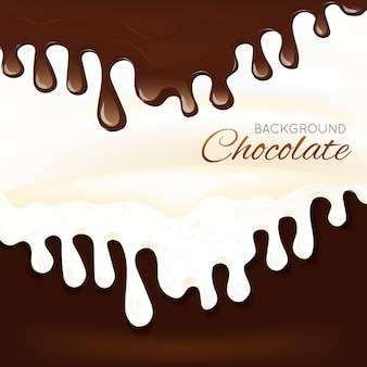 Sweets dessert molten chocolate splash drips background vector illustration