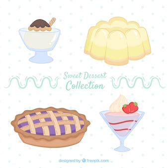 Sweets desserts collection in hand drawn style