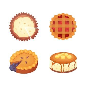 お菓子のデザートオブジェクトコレクション、ストロベリーケーキ、フルーツとベリーの甘いパイとクリーム。自家製ベーカリーケーキデザートパイセット。