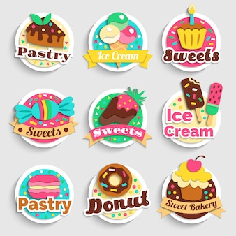 Sweets desserts pastry labels set