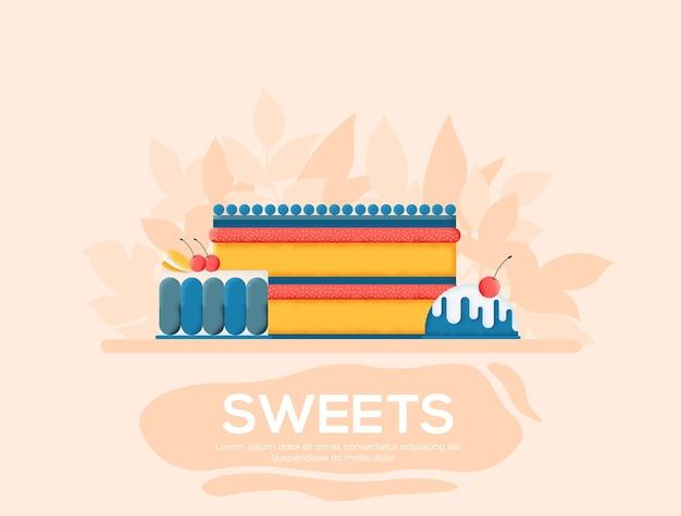 Флаер о сладостях, журналы, плакат, обложка книги, баннеры. текстура зерна и шумовой эффект.