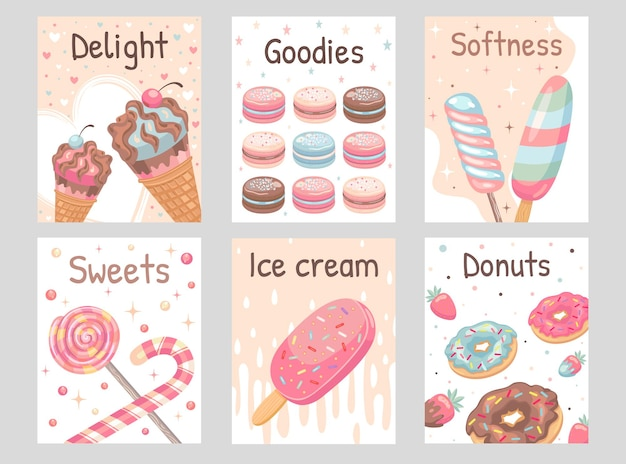 Sweets flyers set. lollypops, donuts, ice cream, macaroons  illustrations