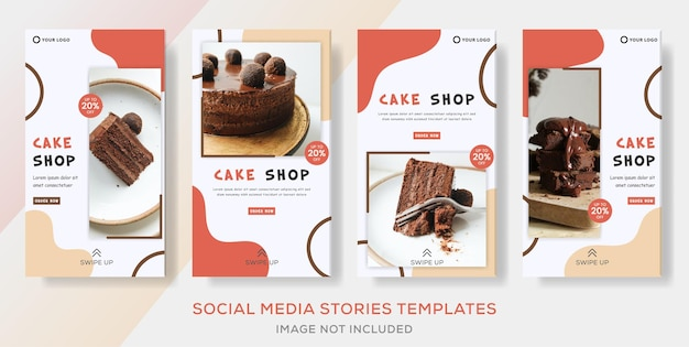 Sweets food banner collection stories templates post for business cake shop.