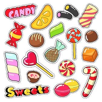 Сладости, еда, конфеты, наклейки, нашивки, значки с леденцом, шоколадными конфетами и желе. векторный рисунок