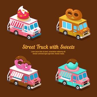 Sweets food truck, sweet isometric