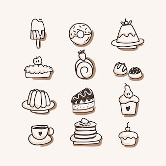 Sweets icon set. hand draw
