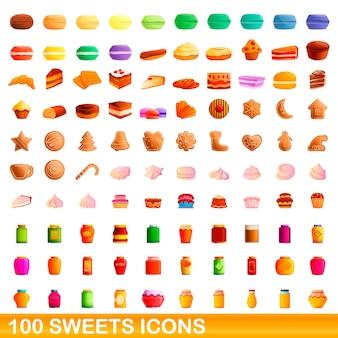 お菓子のアイコンを設定します。白い背景に設定されたお菓子のアイコンの漫画イラスト