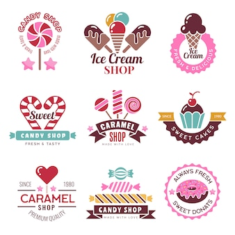 Sweets logo. badges for candy shop confectionery company lollipop cakes and donuts collection