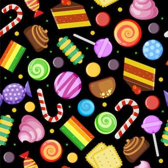 Сладости бисквитные пирожные, шоколадно-карамельные конфеты в обертке и цветной текстильный дизайн