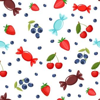 Узор сладостей. на ней изображены черника, вишня, клубника, сладости. шаблон