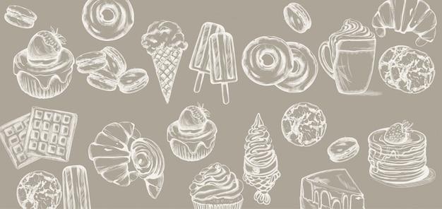 Sweets pattern line art