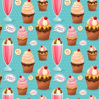 Sweets seamless pattern, adorable snacks collection with cupcake and milk shake