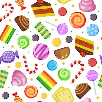 Сладости бесшовные модели. бисквитные пирожные, шоколадно-карамельные конфеты в обертке и цветной текстильный дизайн