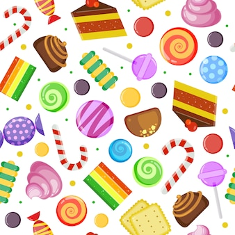 Sweets seamless pattern. biscuits cakes chocolate and caramel candies wrapped and colored textile design